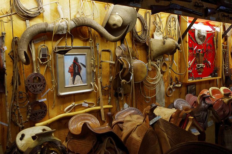 Display, cowboy museum, King's Saddlery, Sheridan, Wyoming.