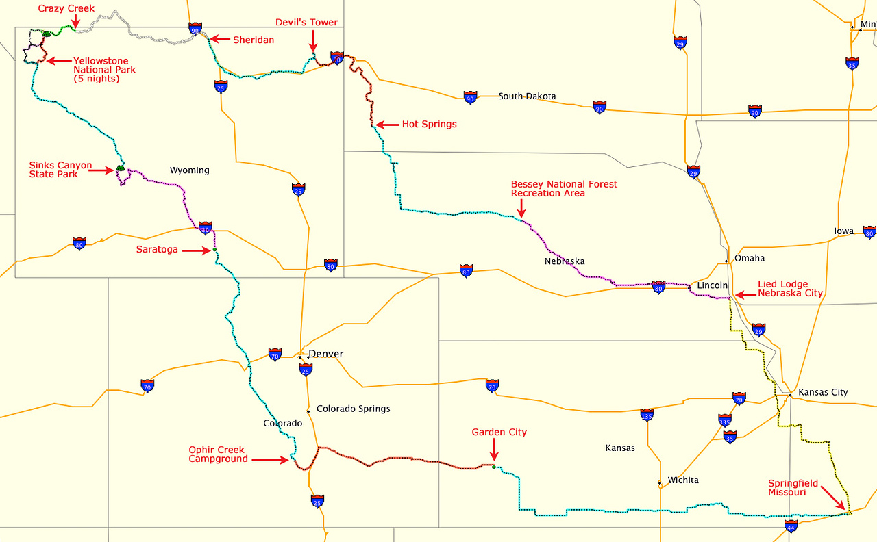 Here is the route of our 16 day road trip from Springfield, Missouri to Yellowstone National Park, and back. Starting in lower right corner, route runs anti-clockwise. Each overnight location is shown in red.