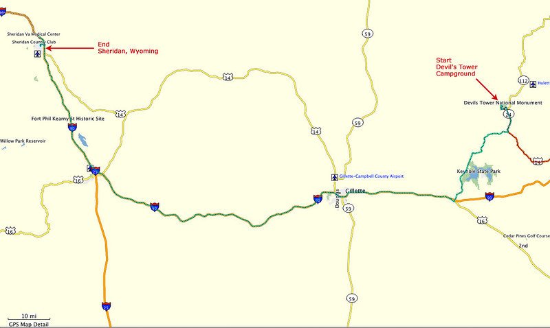 Route, Day 5 - From Devil's Tower National Monument to Sheridan, Wyoming.