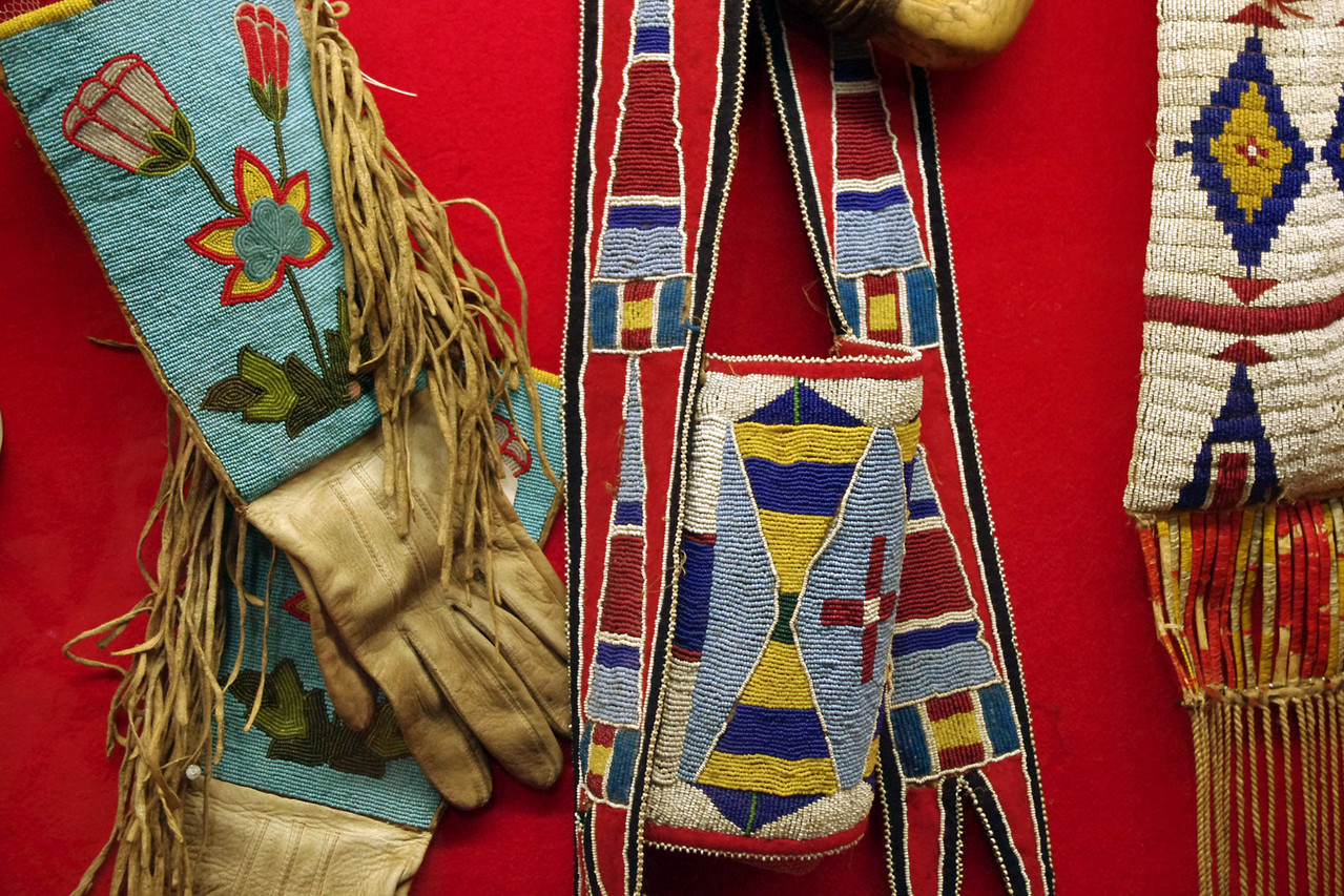Display of Native American beadwork, cowboy museum, King's Saddlery, Sheridan, Wyoming.