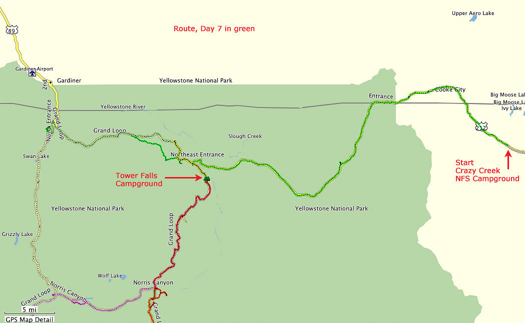 Route, Day 7 - Crazy Creek National Forest Service Campground to Tower Falls Campground in Yellowstone National Park. Additional trip to Mammoth Hot Springs and the Blacktail Plateau,