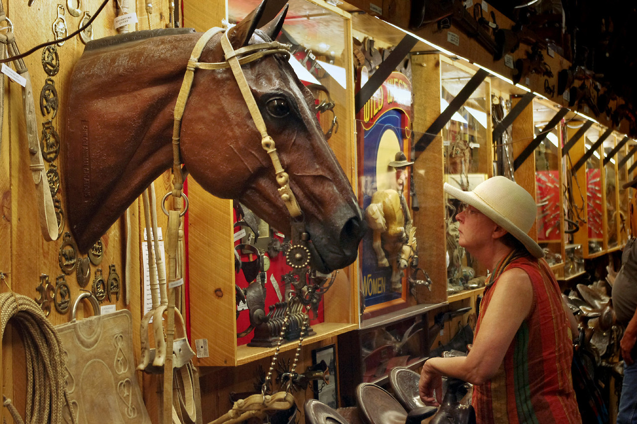 Rita and horse - cowboy museum Inside King's Saddlery, Sheridan, Wyoming.