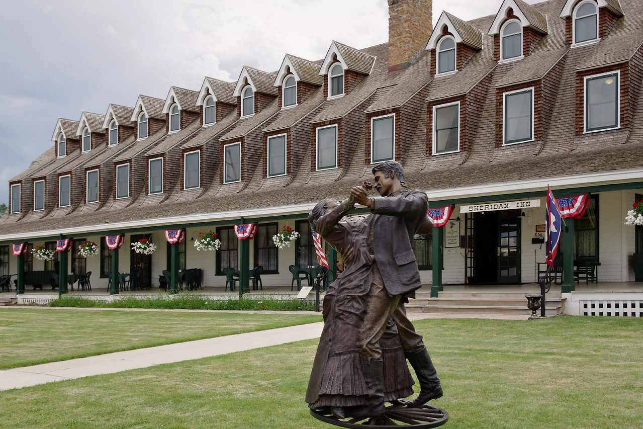 "Bronze statue of ""The Dance"" by James Muir, in front of the Sheridan Inn, Sheridan, Wyoming."