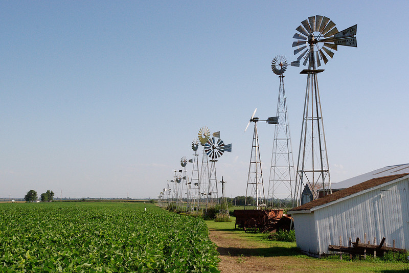Wind pumps, Agricultural Museum, Hiawatha, Kansas.