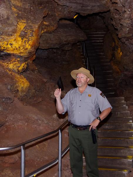 Ranger, inside the cave at Wind Cave National Park, South Dakota.