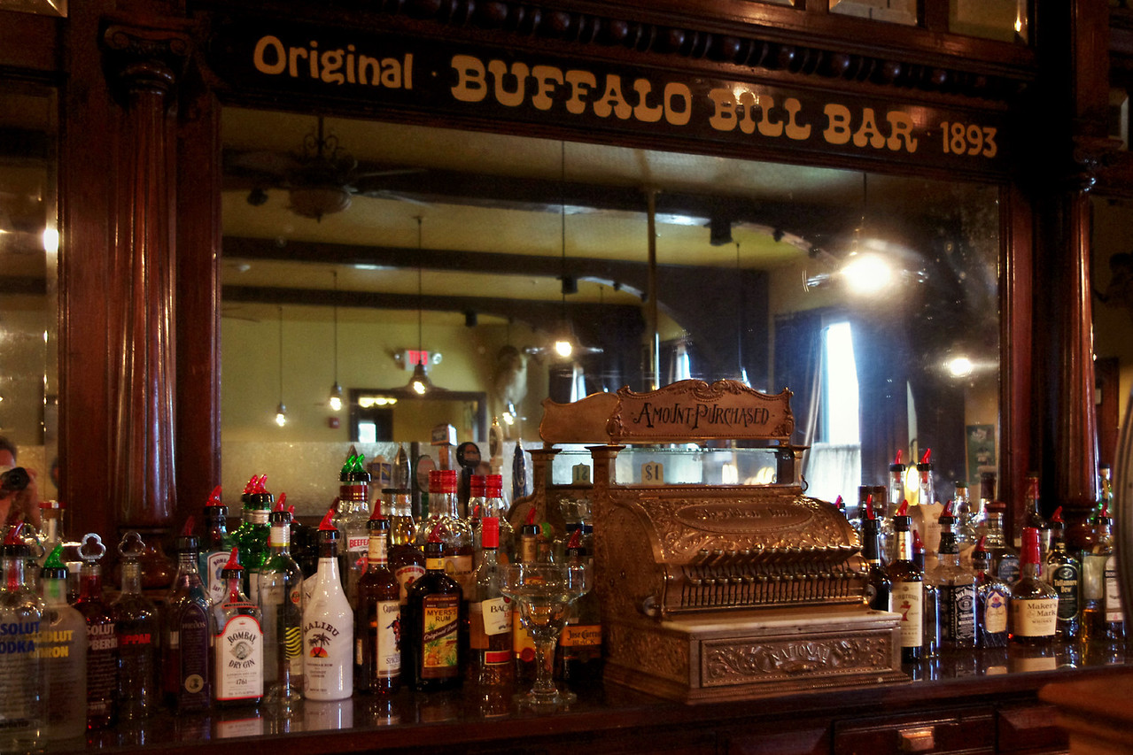 Bar of the historic Sheridan Inn where Buffalo Bill Cody used to drink and dine.