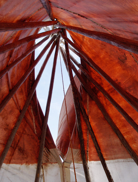 Teepee smoke hole; Museum of the Fur Trade, near Chadron, Nebraska. Rita gets the photo-credit for this one.