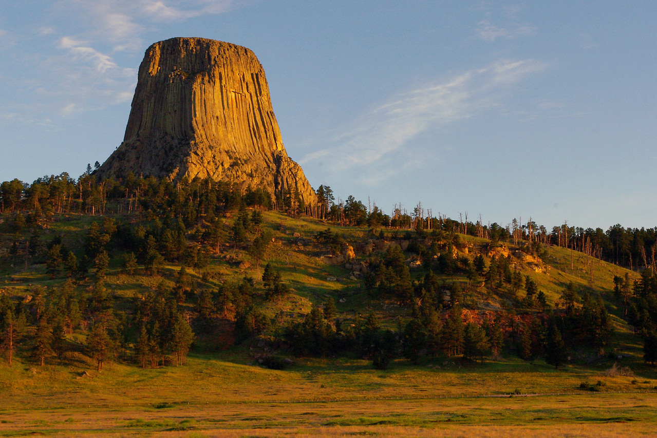 Devil's Tower, South Dakota, morning shot, viewed from campground.