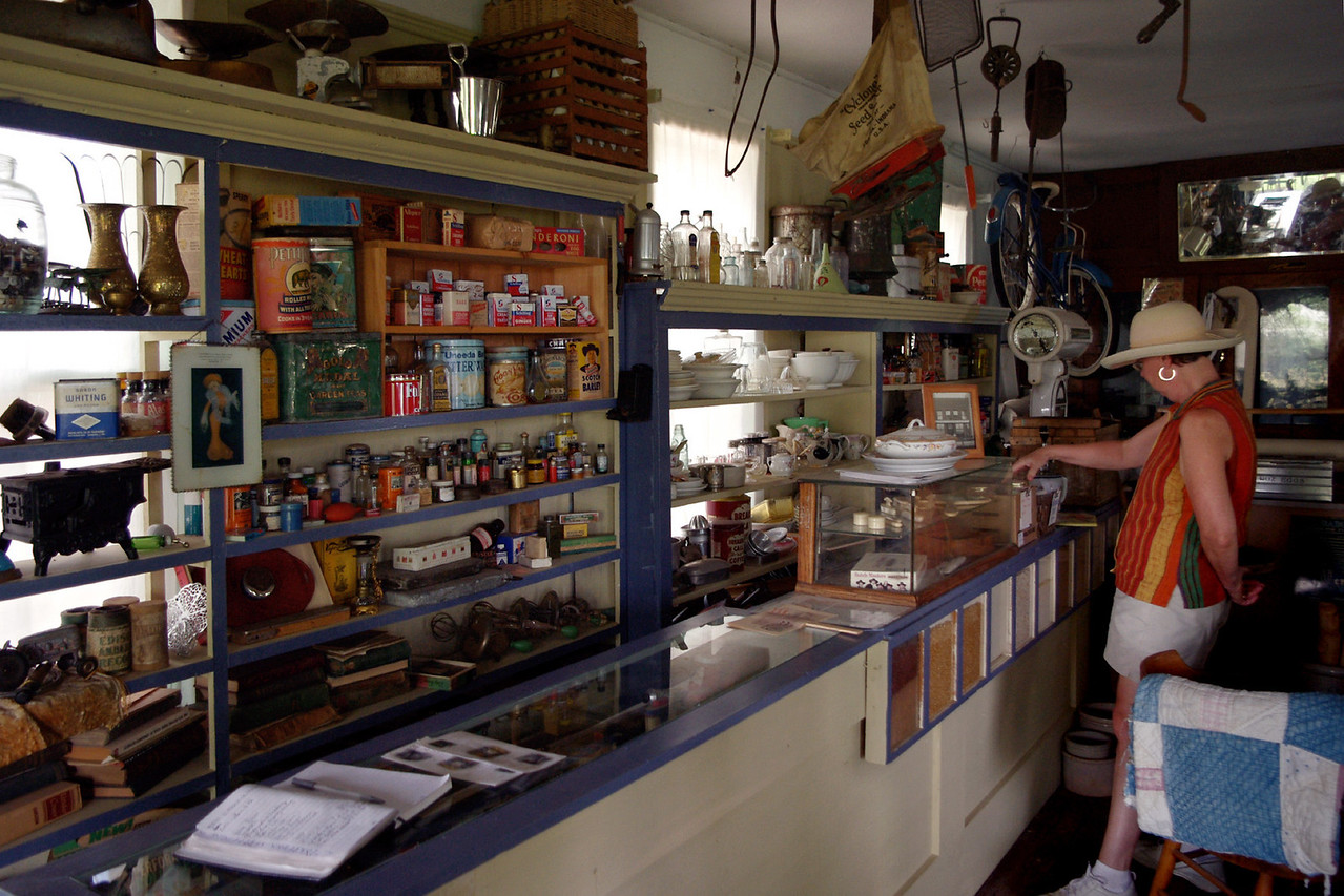 Rita in the merchantile shop, Dobby's Frontier Town near Alliance, Nebraska.