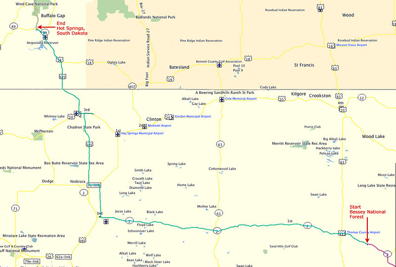 Route, Day 3 - From Bessey National Forest Campground in Nebraska to Hot Springs, South Dakota.
