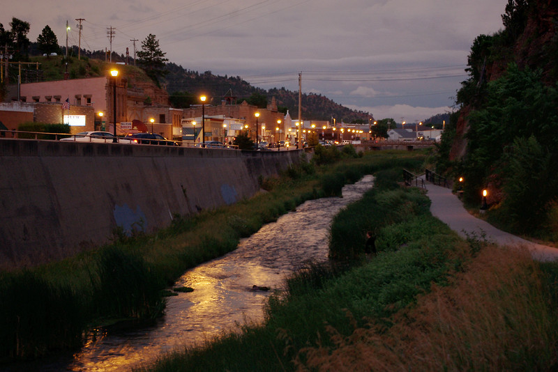 Hot Springs South Dakota - view of trail along the Fall River, at night.