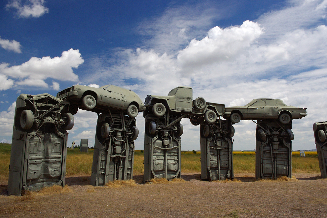 "Carhenge - a roadside attraction near Alliance, Nebraska featuring: ""Thirty-eight automobiles placed to assume the same proportions as Stonehenge"""