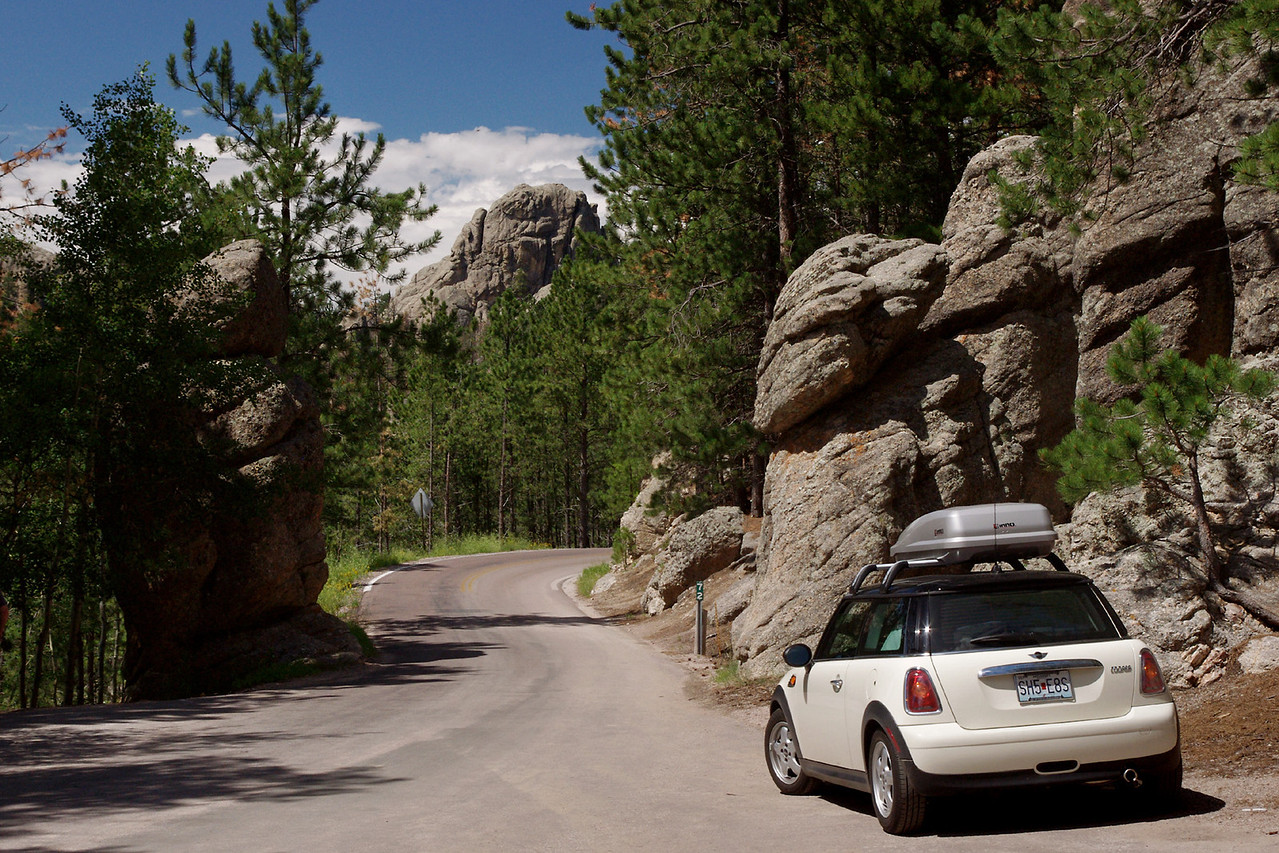 The MINI Cooper is very much at home on the Needles Highway (SD Highway 87), Custer State Park, Black Hills, South Dakota.