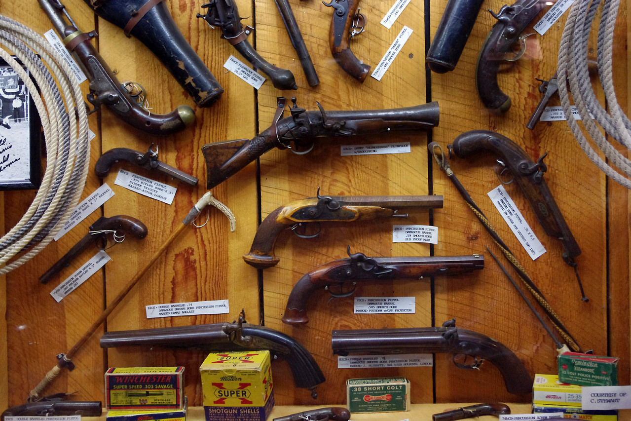 Pistol display, cowboy museum Inside King's Saddlery, Sheridan, Wyoming.