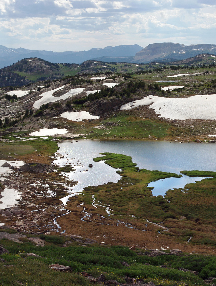 Mountain lakes. View from the Beartooth Highway (Wyoming 212, NE of Yellowstone National Park).