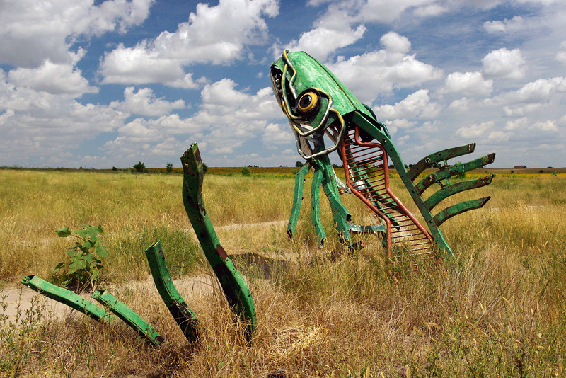 The Spawning Salmon - created by Geoff Sandhurst of Canada - displayed at Carhenge - a roadside attraction near Alliance, Nebraska.