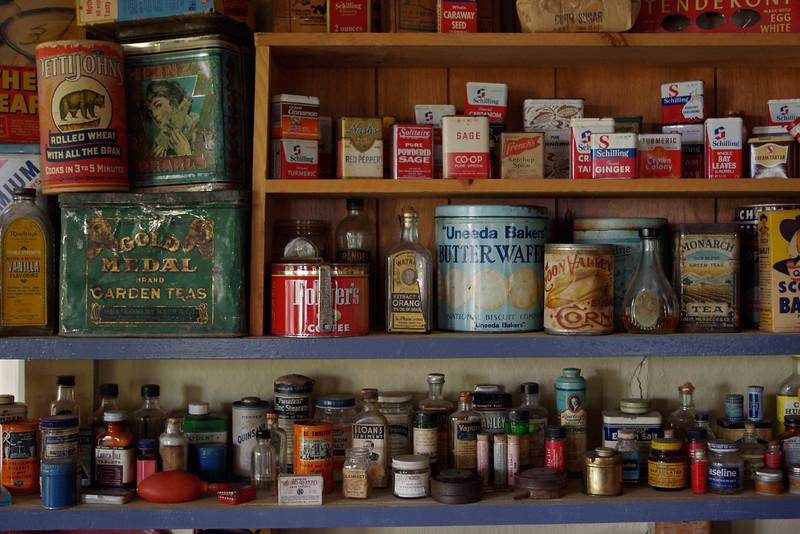 Merchantile shelves, Dobby's Frontier Town near Alliance, Nebraska.