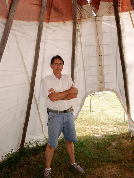 Gary, inside a teepee, Museum of the Fur Trade, Chadron, Nebraska.