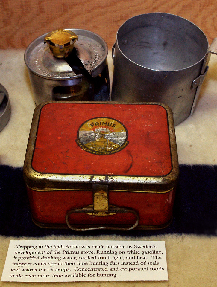 Boy do I feel old! The SVEA 123 Rita and I bought back in the 1970s - and which we are using to heat the water for our coffee on this camping trip -  is almost identical to the Primus in this museum display. <br /> <br /> Museum of the Fur Trade, near Chadron, Nebraska.