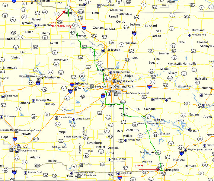 Route, Day 1 - Springfield, Missouri to Nebraska City, Nebraska.