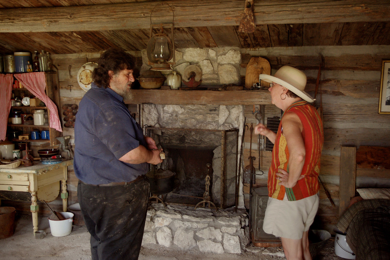 I believe Rita is talking to Dennis Lee, son of Frontier Town founder, Keneth Dobby Lee. Dennis is telling the history of the log cabin's original owner, Robert Anderson, the first black homesteader in Nebraska.
