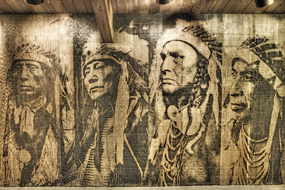 Wall art in museum at Grand Teton NP.  Downstairs there were two native Americans working on some of their crafts and selling them.  Very nice folks!