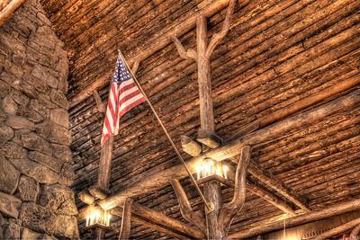 In the lobby of Old Faithful Inn, Yellowstone National Park