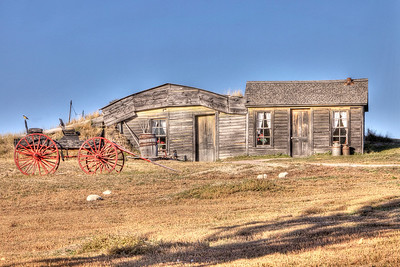 A pioneer homestead state historic site just outside the east entrance to the Badlands National Park, SD. The Prairie Dogs in the photo are real :-)