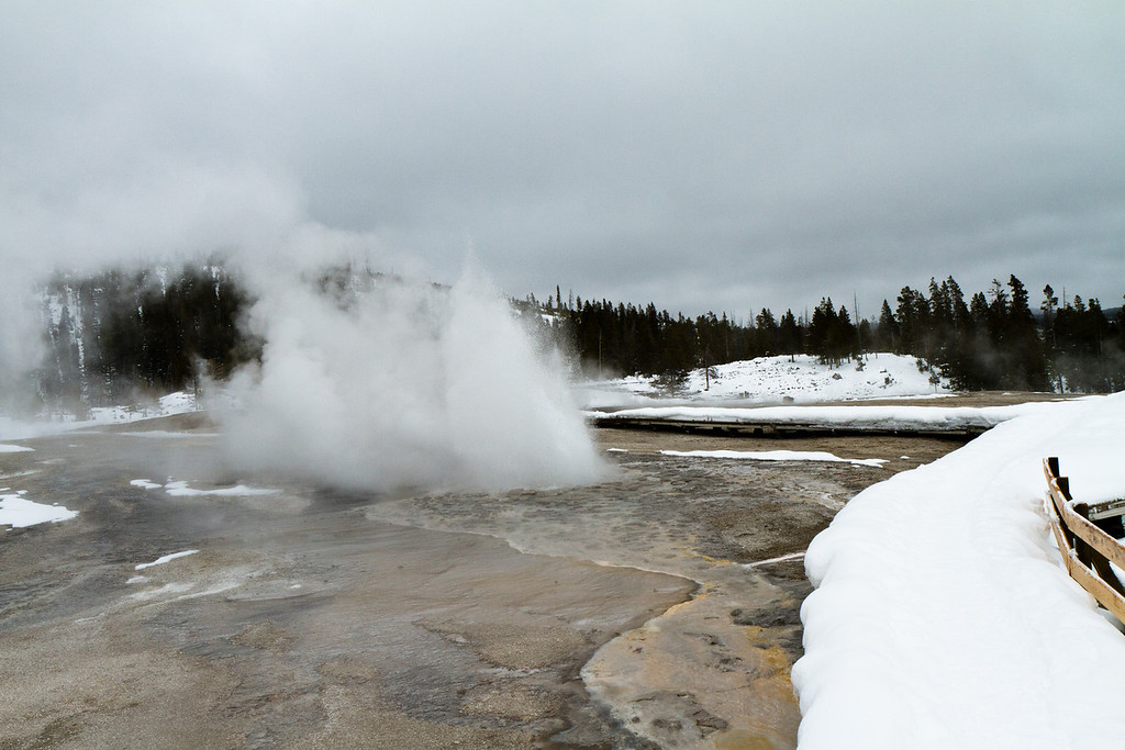 I was surprised by the sudden eruption of the plume geyser as I was walking next to it.