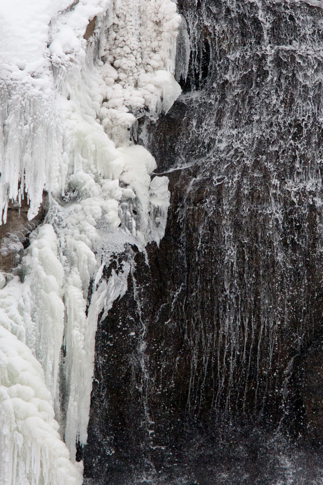 Ice and water at Gibbon falls