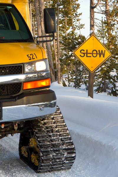 Yeah, the tracked snow coaches obeyed the sign. They were slow.