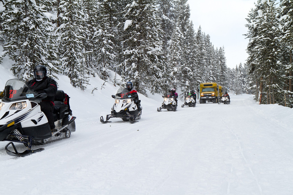 New rules limit number of snowmobiles in the park to hundreds (used to be thousands). In addition, all now must be quiet 4 stroke engines and lead by a guide. Much cleaner, quieter and less rowdy than the old system