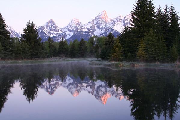 Grand Teton's and beaver pond at sunrise.