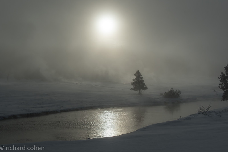 Sun, fog, snow and geothermal features created a sometimes eery scene.