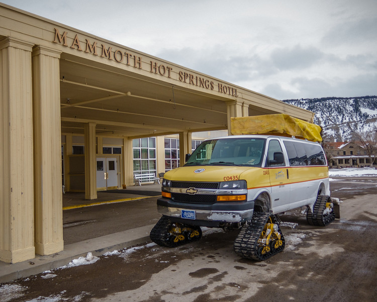 Mammoth Hot Springs Hotel.  Most roads in the Park are not plowed in winter.  Transportation to other parts of the park is by snow coach.