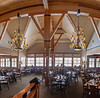 An extreme wide view of the dining area of the Snow Lodge.