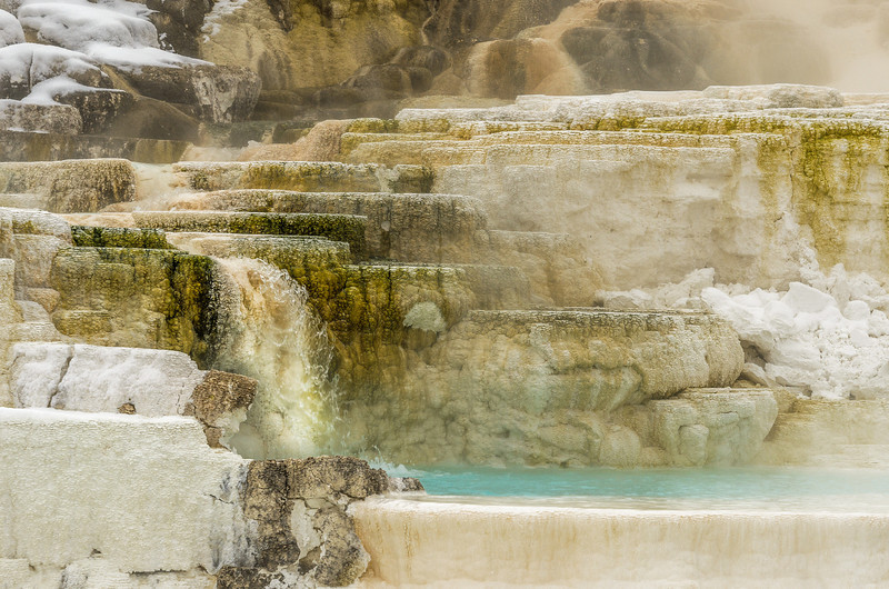 Travertine structures deposited by the mineral-laden water.