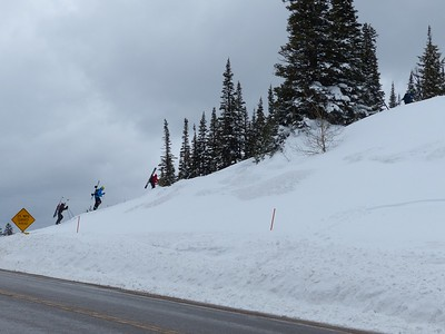 Backcountry Skiers heading out on Teton Pass