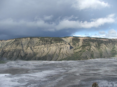 view from The Mammoth Hot Springs Terraces