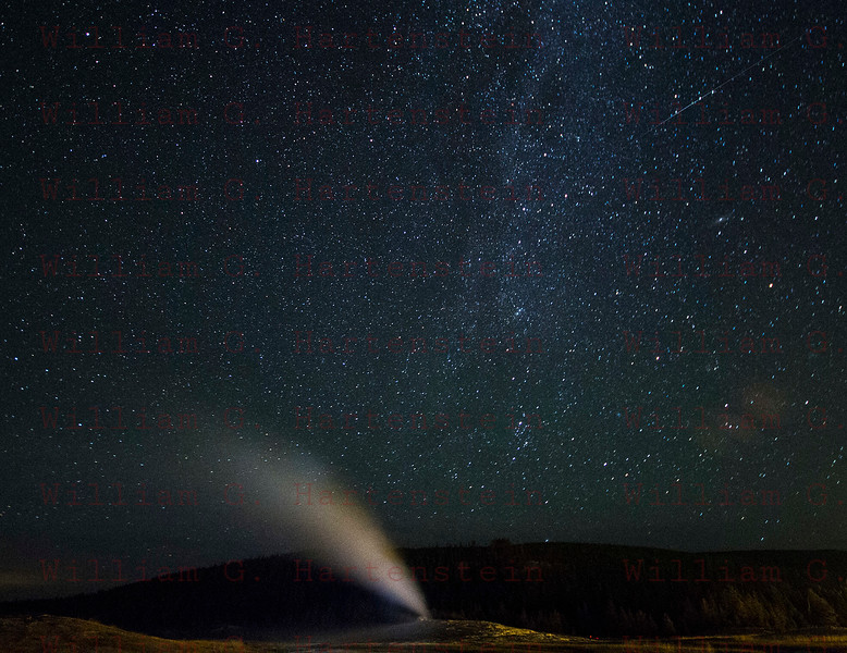 Meteor over Old Faithful Gyser, Yellowstone, WY 08-16-2017