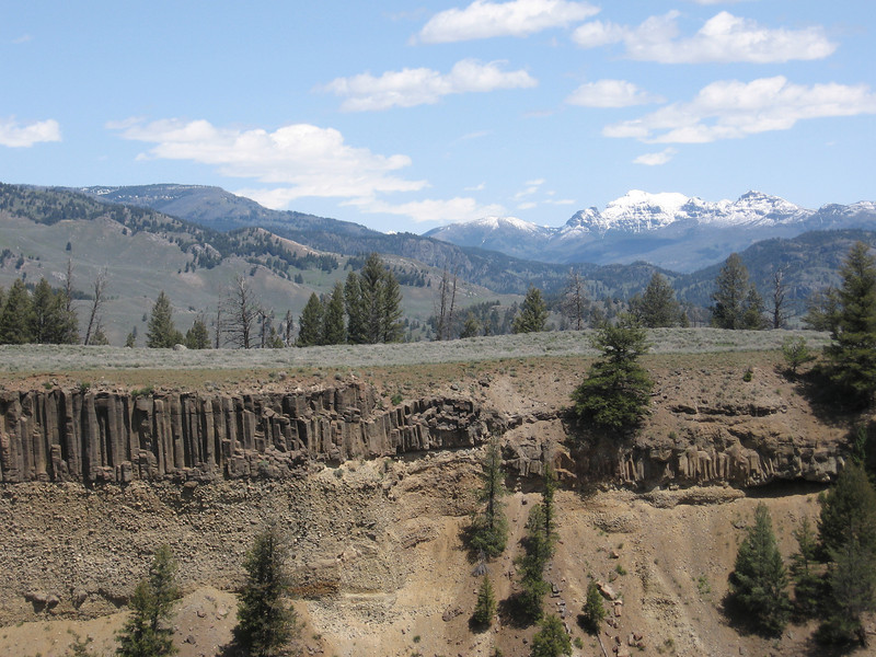 The wall of the Yellowstone River canyon had a couple layers of columnar basalt. I like columnar basalt, it reminds me of eastern Washington.