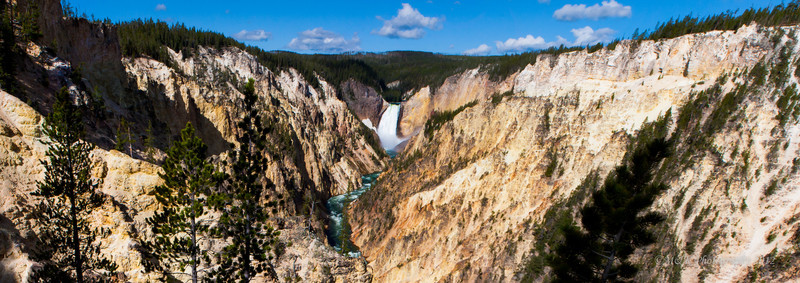 The lower falls (44°43′05″N 110°29′46″W) are 308 feet (94 m) high, or almost twice as high as Niagara. The volume of water is in no way comparable to Niagara as the width of the Yellowstone River before it goes over the lower falls is 70 feet (22 m), whereas Niagara is a half mile (800 m).