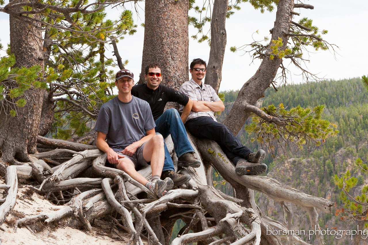 """The Crew"". These two fellows and myself made a mad dash across the states with this stop in yellowstone for one night."