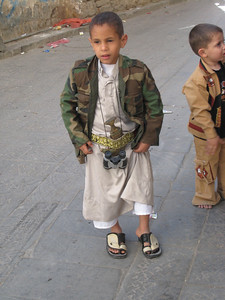 Every Yemeni male wears a traditional jambia (dagger) as regular day wear, and they start young.