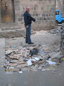 Colin on the way to the souq.  As you can see rubbish is a real problem in Sana'a.