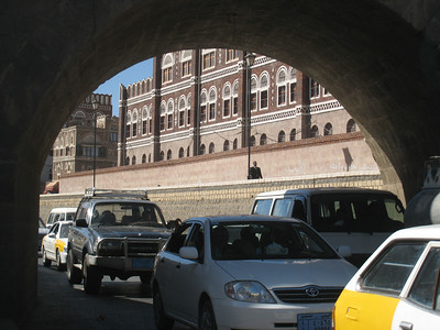 As-Sailah, the paved wadi which is a major road through Sana'a.