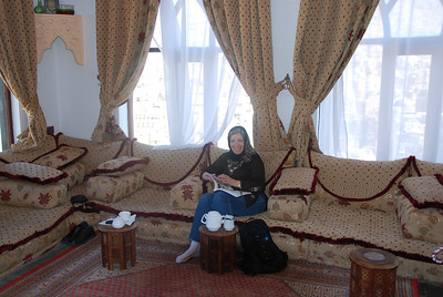 In the top floor lounge 'mifraj' of our hotel.