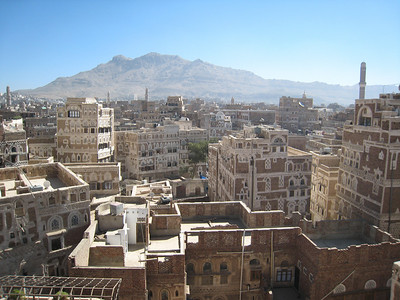 The view from our hotel room overlooking Old Sana'a, Yemen.