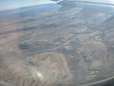 The remarkable land formations, all natural not man made, taken from the plane coming into Sana'a.