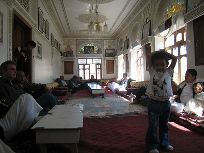 The upstairs dining room at Shibam.  A local family asked us to join them and we sat together on the floor to eat lunch.